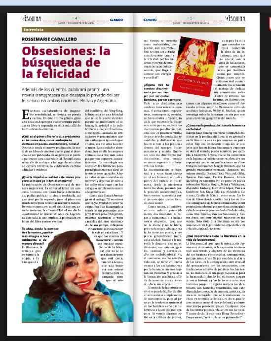 Entrevista en La esquina, desdeBolivia